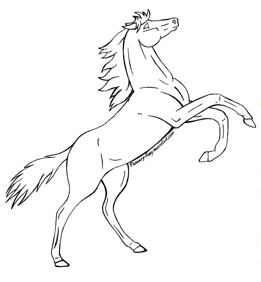 Simple Horse Lineart : Free rearing horse lineart by shikumeka on deviantart