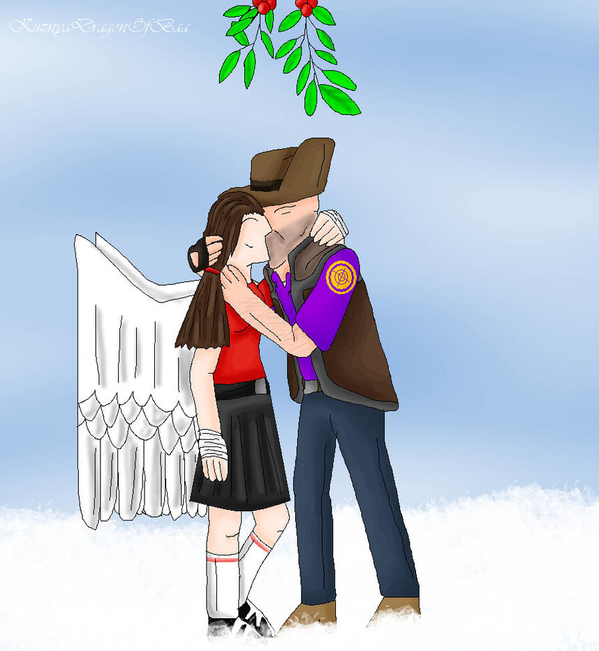 Sniper and FemScout kissing under the mistletoe by Dreamer-In-Shadows