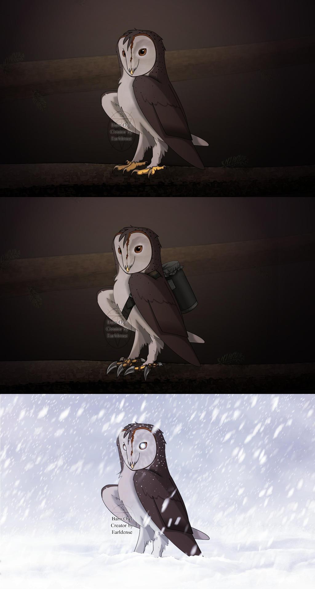 Methi owl form - normal, in war, revealing by KuznyaDragonOfBaa