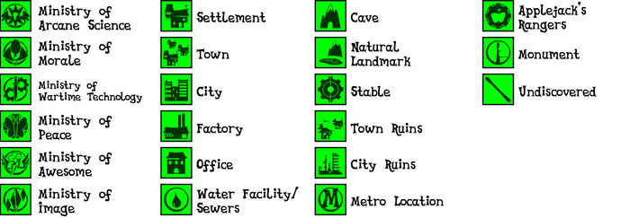 Fallout Equestria Cartography Symbols by Inkwell-Pony