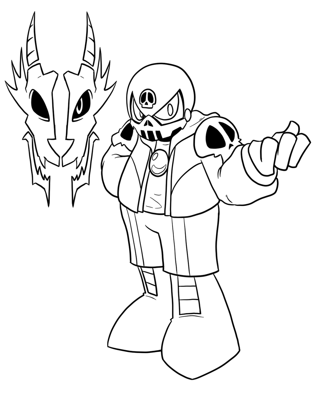 Skull man sans by inkwell pony on deviantart for Sans coloring page