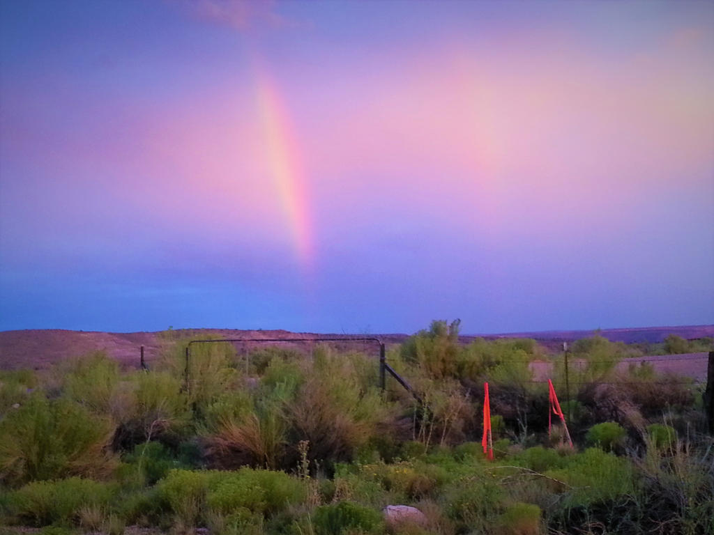 Double rainbow in the desert by Kittinlover