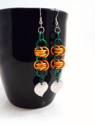 Chainmail Pumpkin Earrings by SerenityinChains