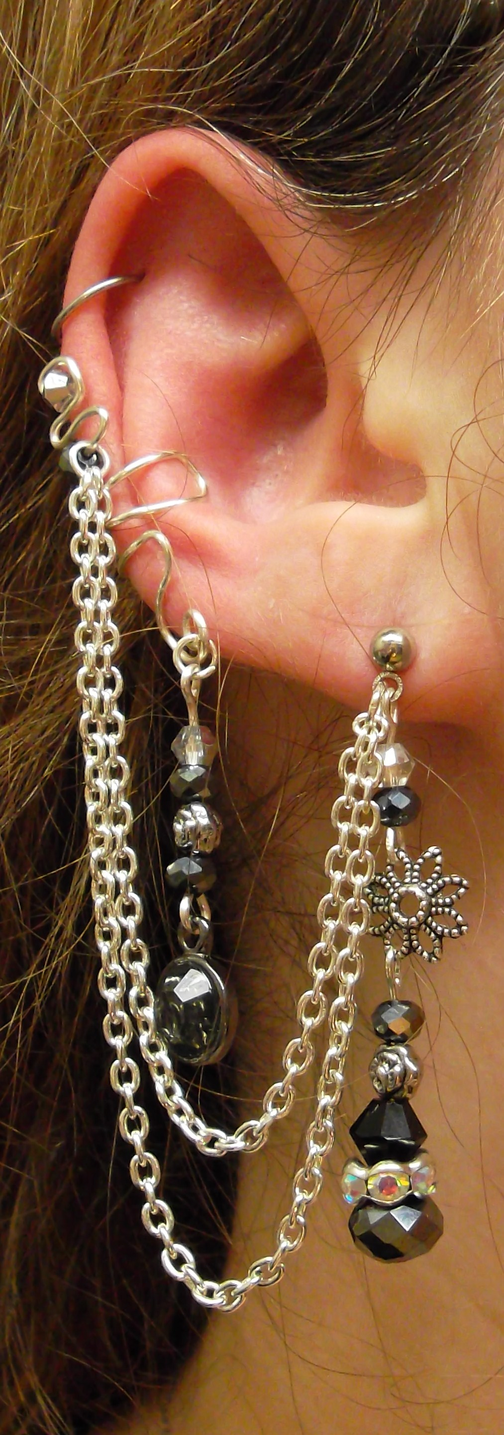 Sterling Silver Elven Earcuff Chained Earring 20 by SerenityinChains