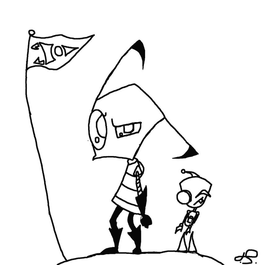 Zim coloring page by invadersal on deviantart for Invader zim coloring pages online