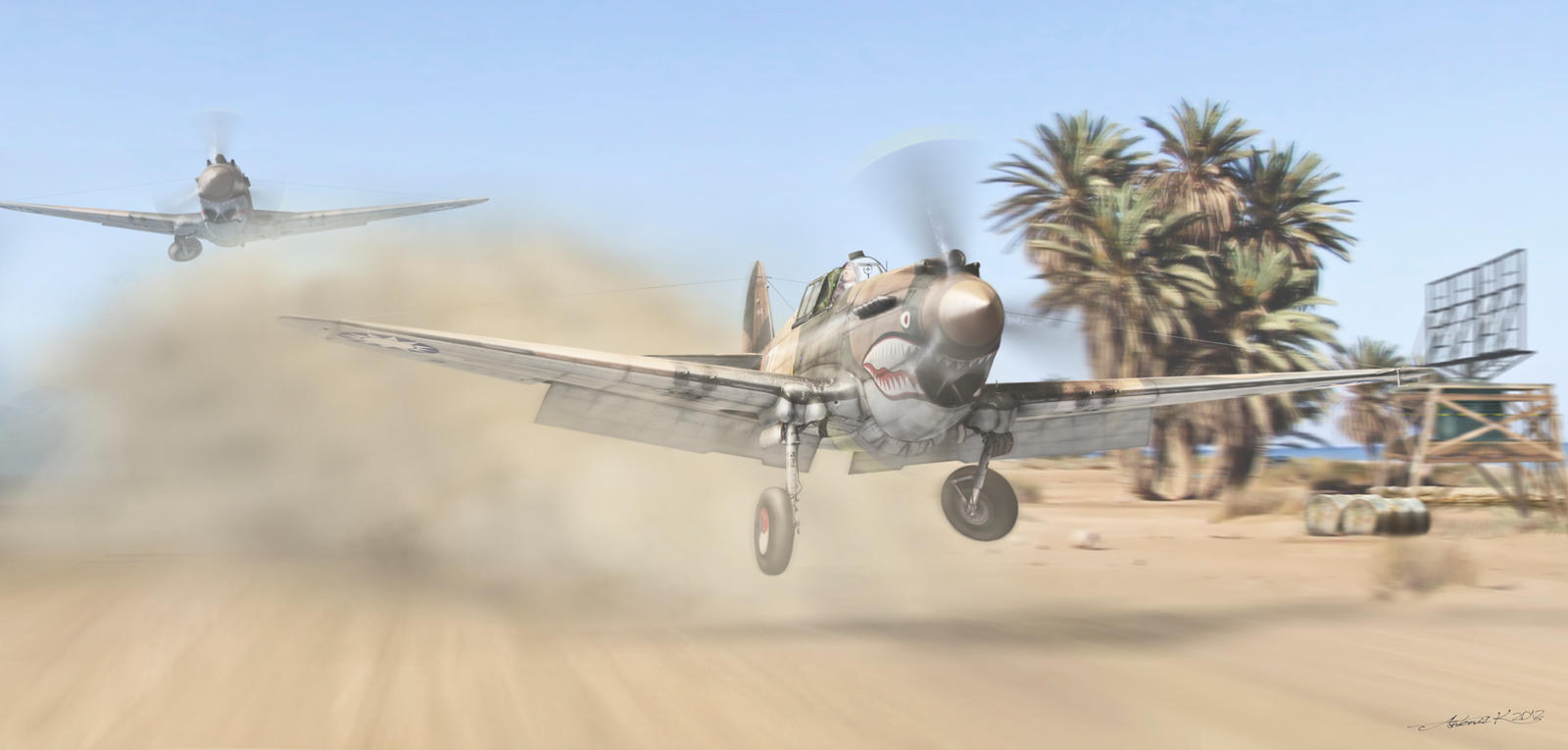 P 40 Flying Tiger In Combat