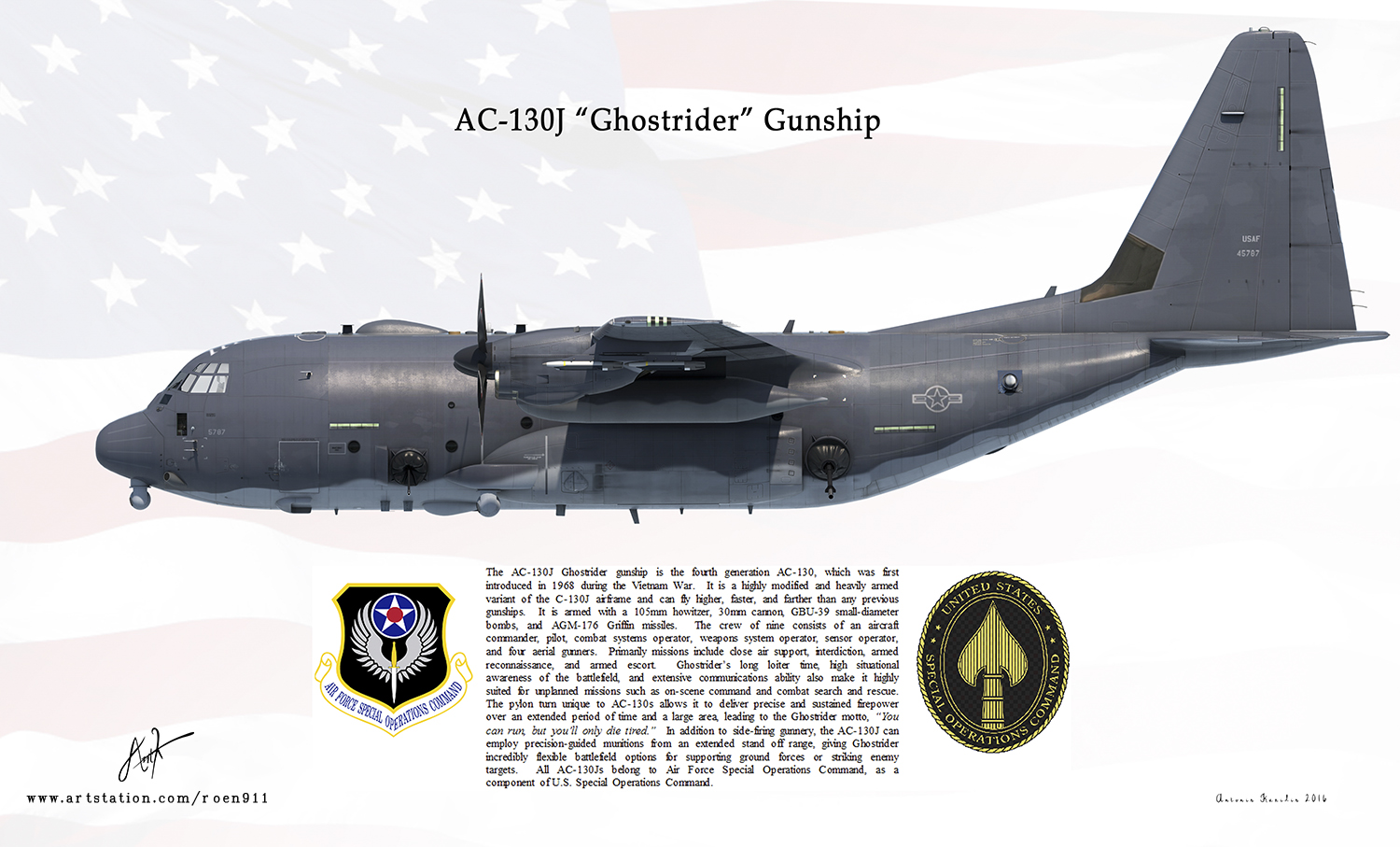 AC-130J Ghostrider Gunship by rOEN911