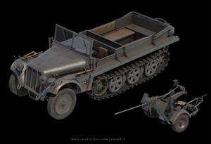 sdkfz 10 half-track Transporter and 2cm FlaK 30