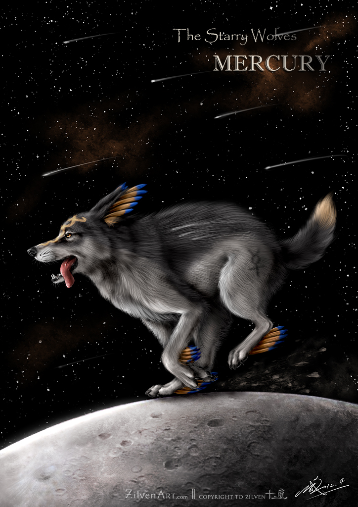 white wolf with black wings