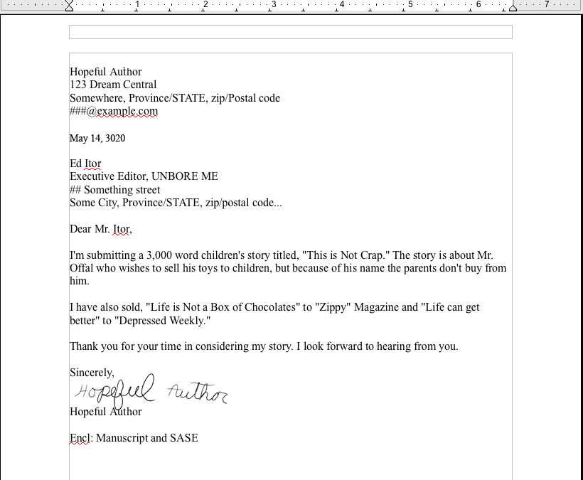 cover letter fiction submission sample