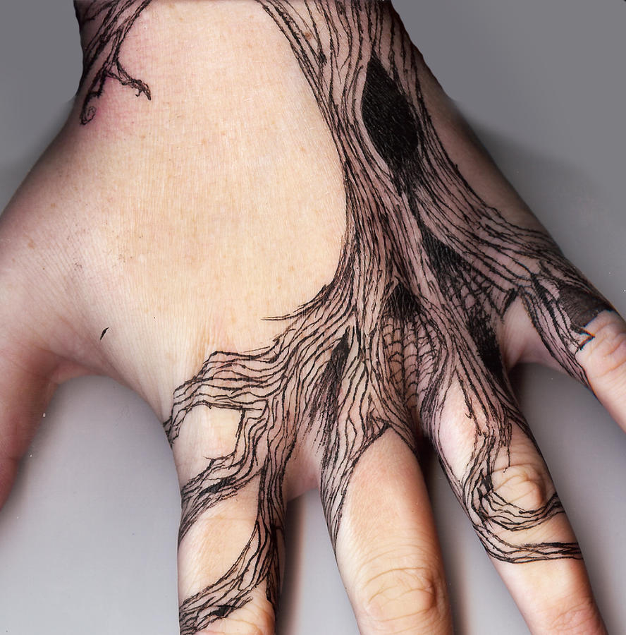 Tattoo Inspired Hand Tree P.2 by RoseScentedCorpse