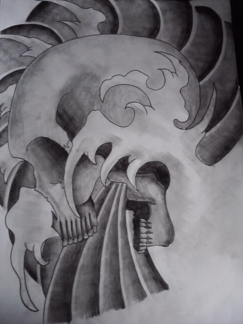Japanese Skull Design Complete by AdamCareless