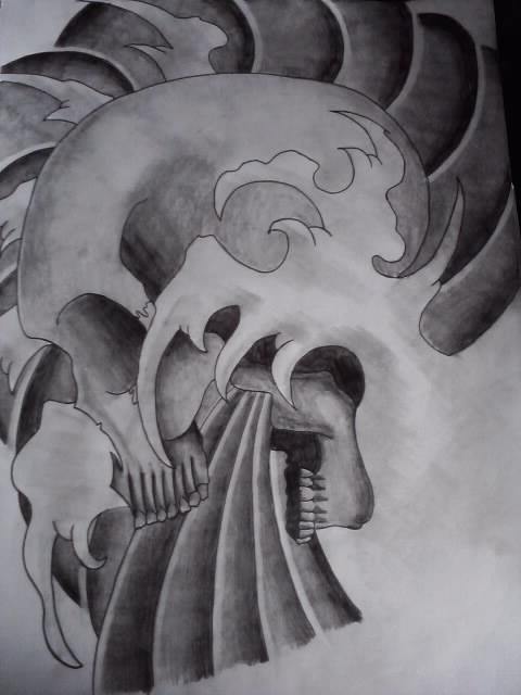 Japanese Skull Design Complete by AdamCareless