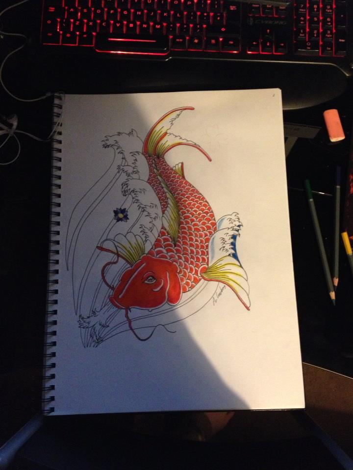 Koi Fish Tattoo Design by AdamCareless