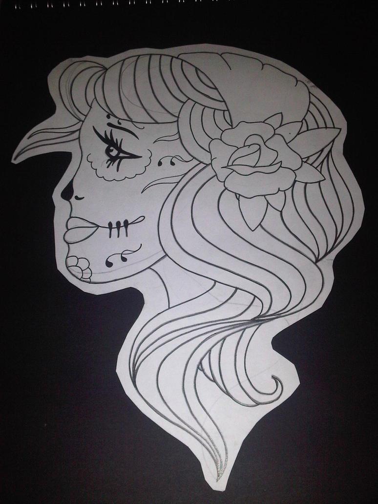 Simple line, Girl tattoo design by AdamCareless