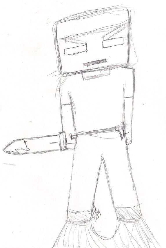Herobrine Sketch by shinigamimaxwell