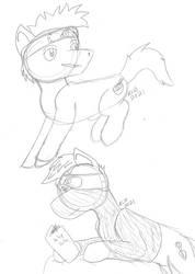 Narutober 2 and 3 - Ponyfied Kakashi and NarutoWIP
