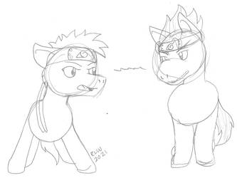 Narutober Day 7 - Ponyfied Naruto and Sasuke WIP