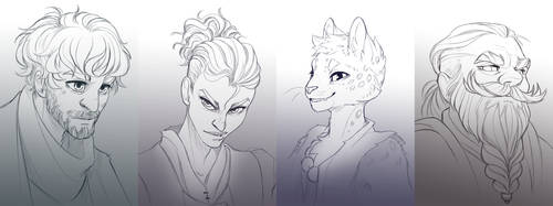 Portrait sketch commissions for Vespernova by painted-bees