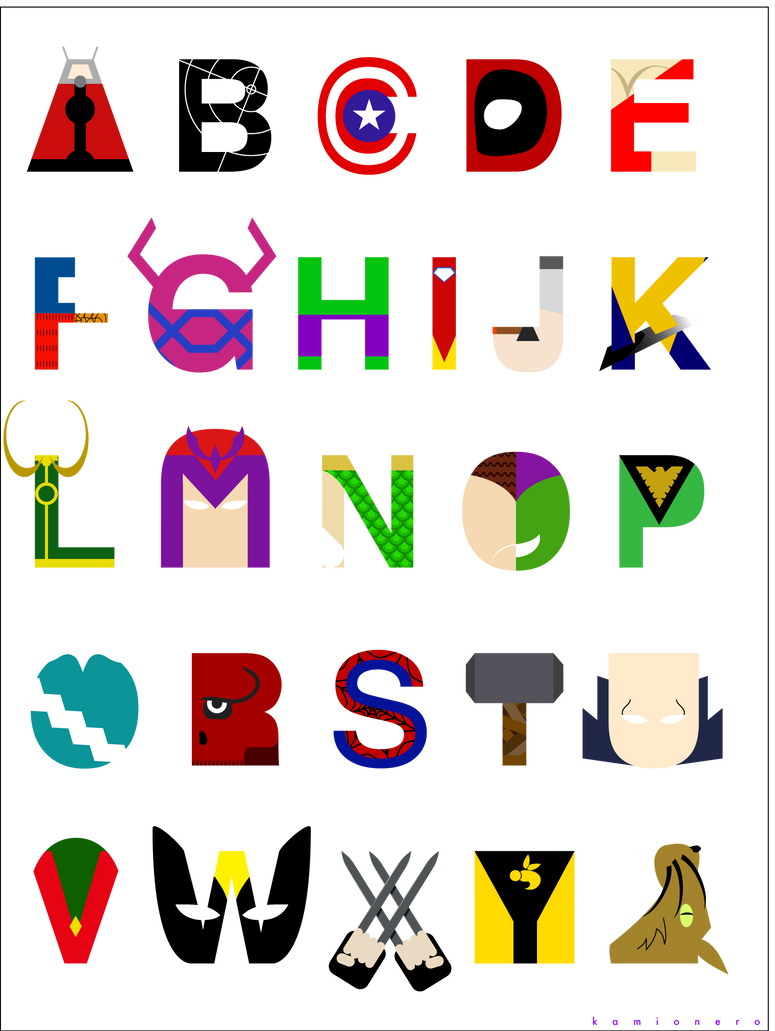 Marvel Alphabet by kamionero