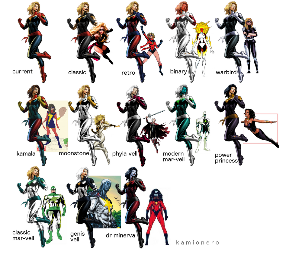 Captain Marvel Color Schemes by kamionero