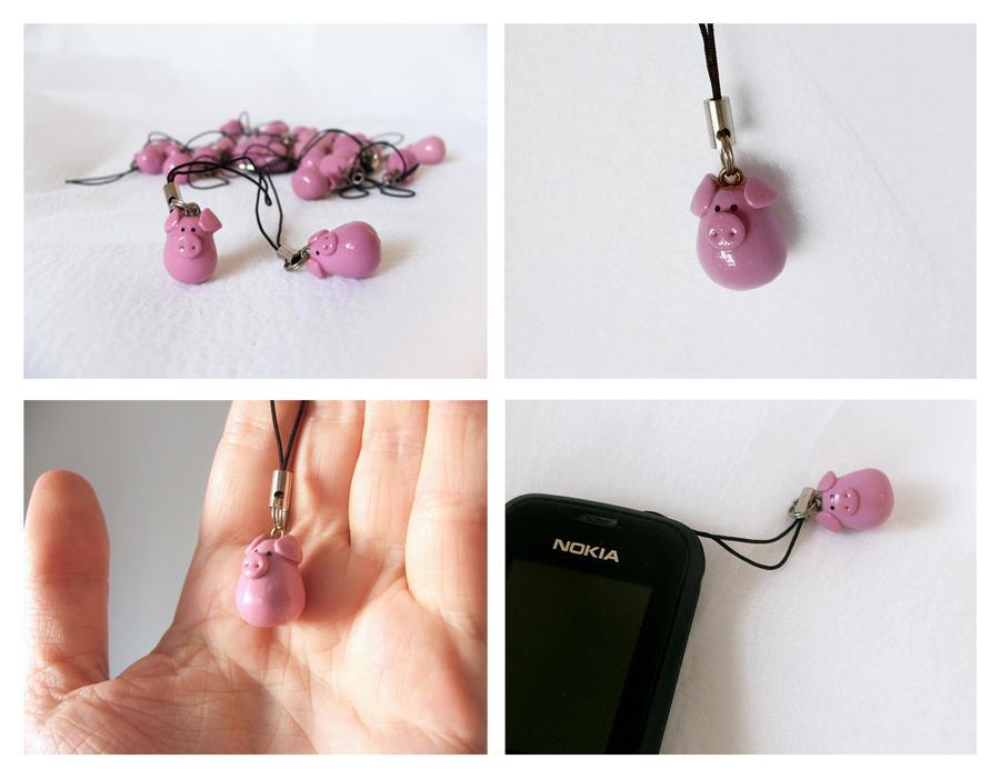 classic pig phone charm by Haidak