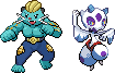 'Machwott' and 'Medilass' Pokemon fusions by Let-Yourself-Flo