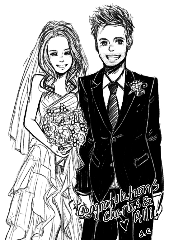 Line Drawing Wedding Couple : Ctfxc wedding photo drawing thing by dumplingzowo on