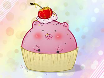 Pig Cupcake by Cassaa