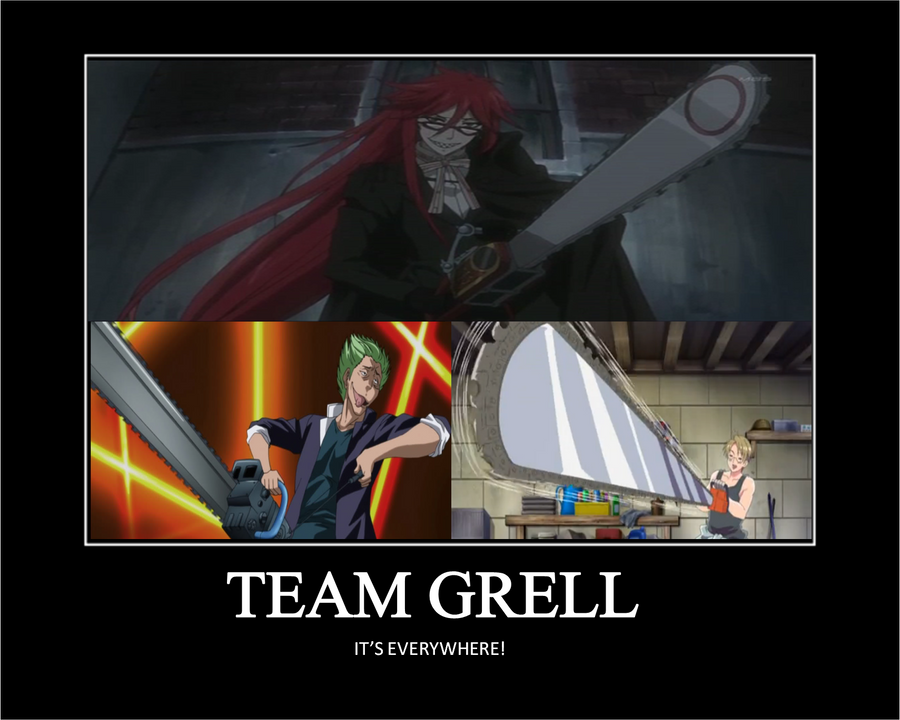 Chainsaw club team grell motivation poster by secrethero123 on