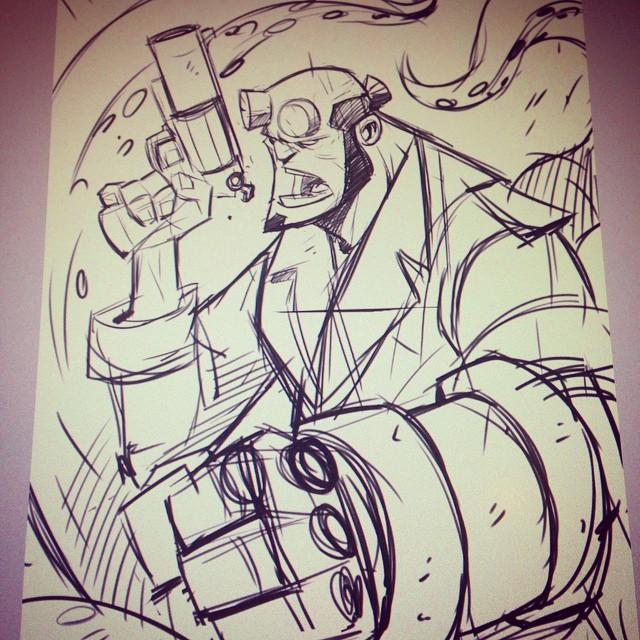 Hellboy - Warmup Sketch by DerekLaufman