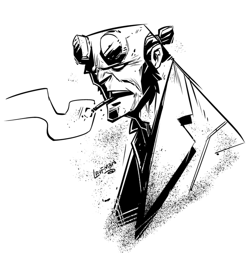 Hellboy head sketch by DerekLaufman