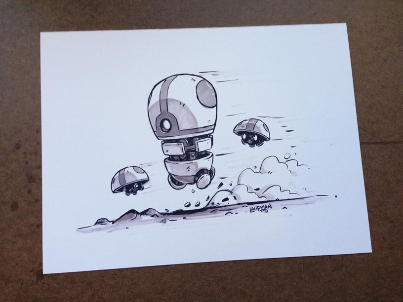 Inktober 2015 Day  04 - Robot Dash by DerekLaufman