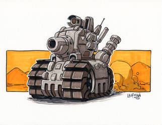 Inktober Day 19 - Metal-Slug-Tank by DerekLaufman