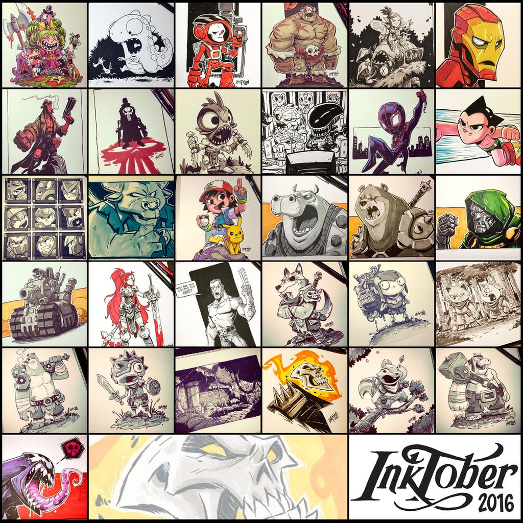 Inktober 2016  - Collage by DerekLaufman