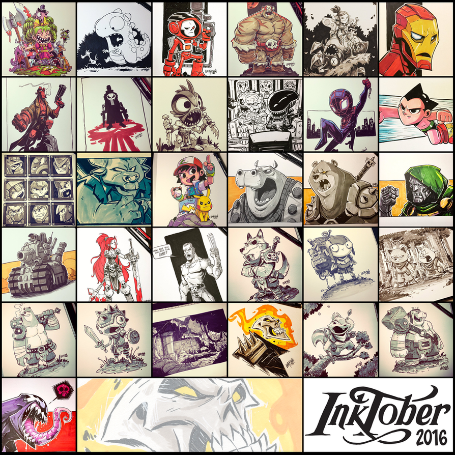 Inktober 2016  - Collage by DerekLaufman