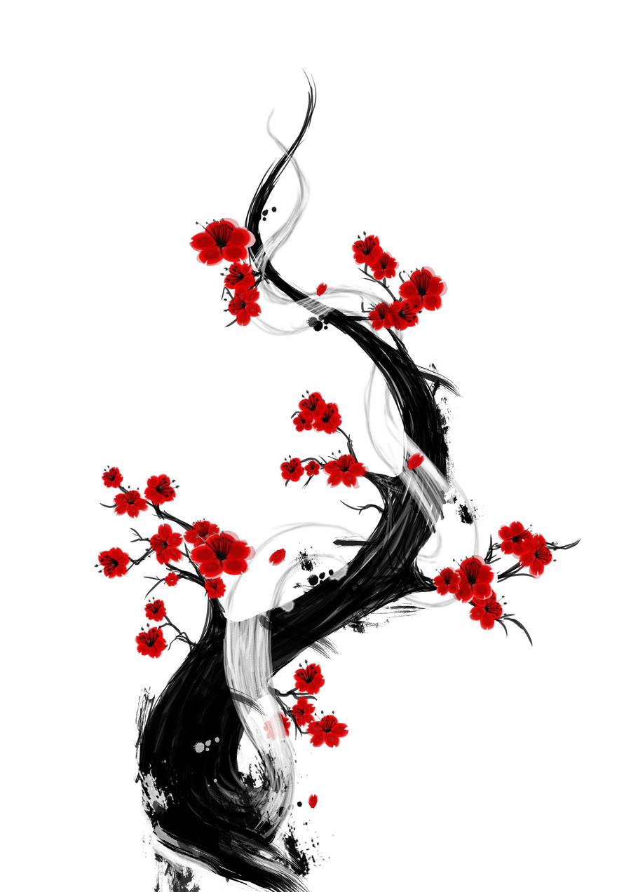 Cerisier japonais tatouage fashion designs - Branche de cerisier japonais ...