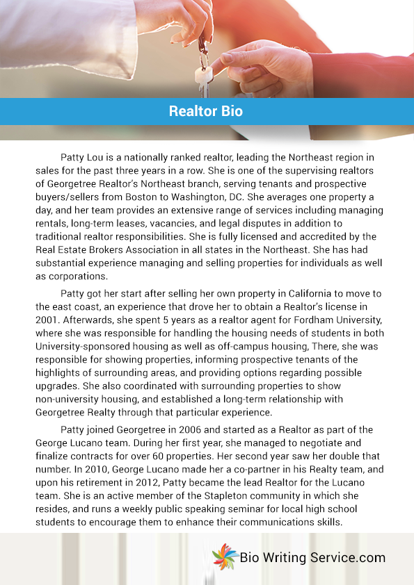 Realtor bio sample by biosamples on deviantart for Dj biography template