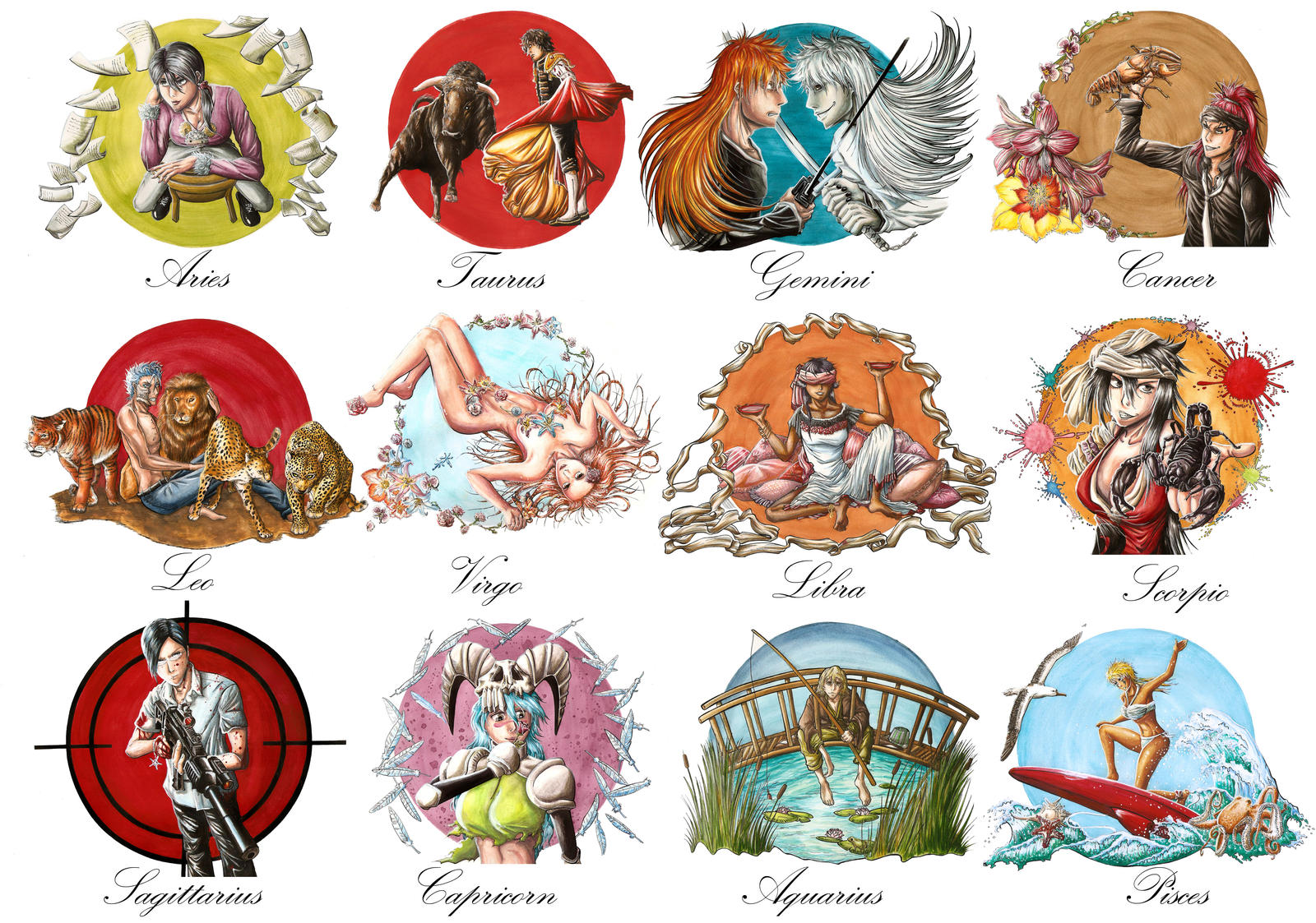 Anime Characters Zodiac Signs : Bleached zodiac all stars by marvolo san on deviantart