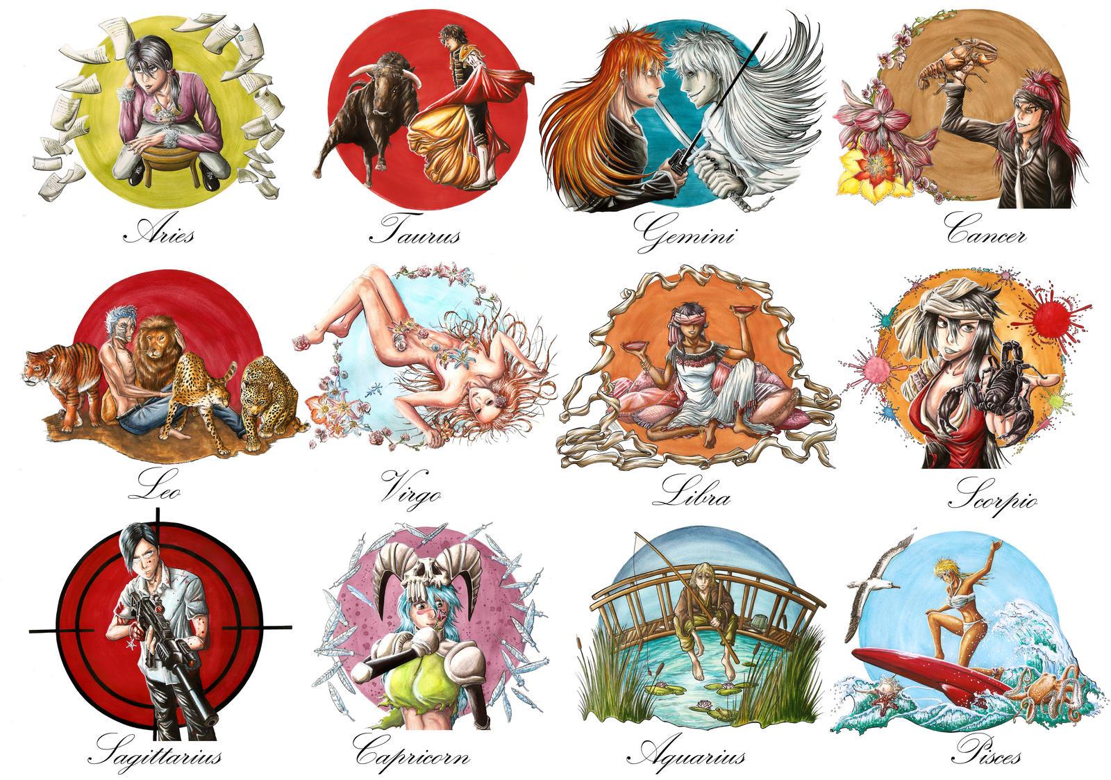Zodiac bleach calendar