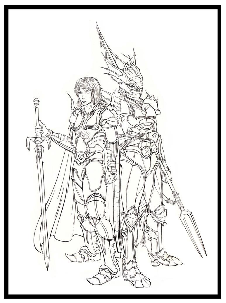 Final Fantasy IV - Cecil Harvey and Kain Highwind by Marvolo-san