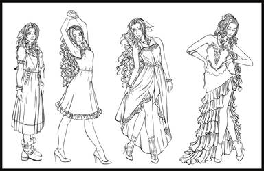 Aerith - all the dresses Lines