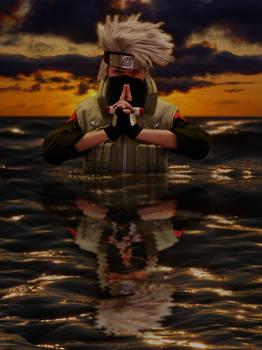 Kakashi in a lake