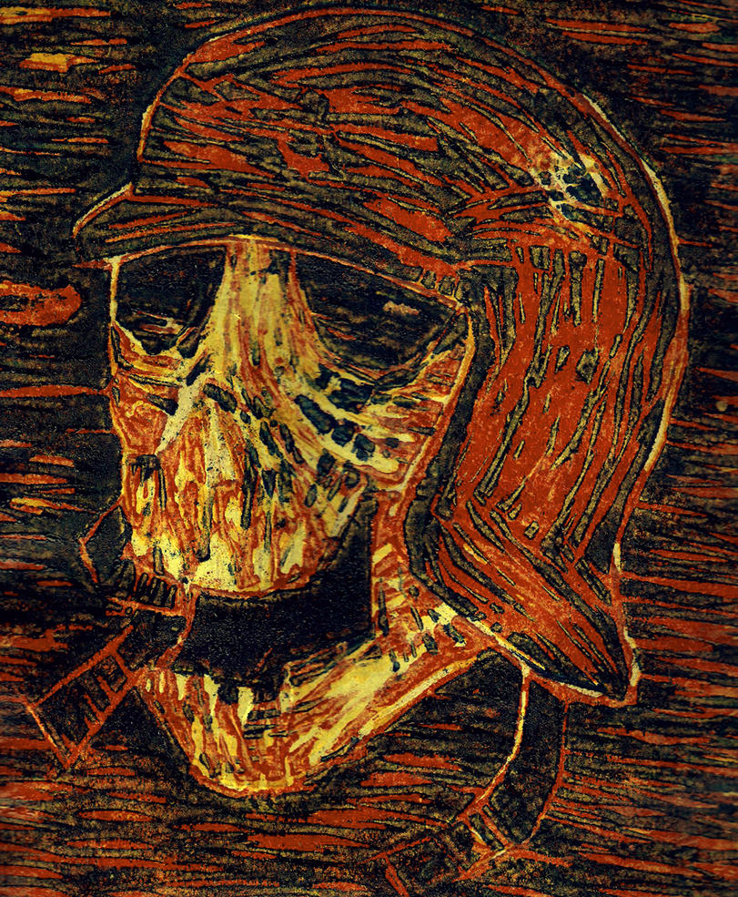 Woodblock Skull by Bittergeuse