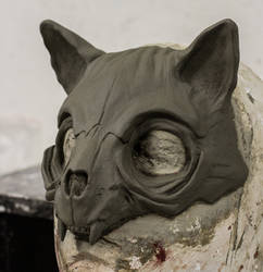 Cat Skull Mask sculpture