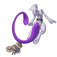 Mewtwo and Zigzagoon by LesliTheFox