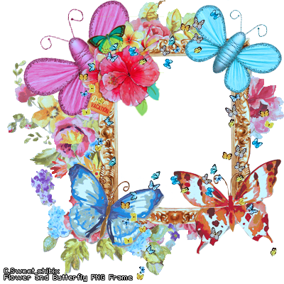 Flower and Butterfly PNG Frame by Sweet-chibix on DeviantArt