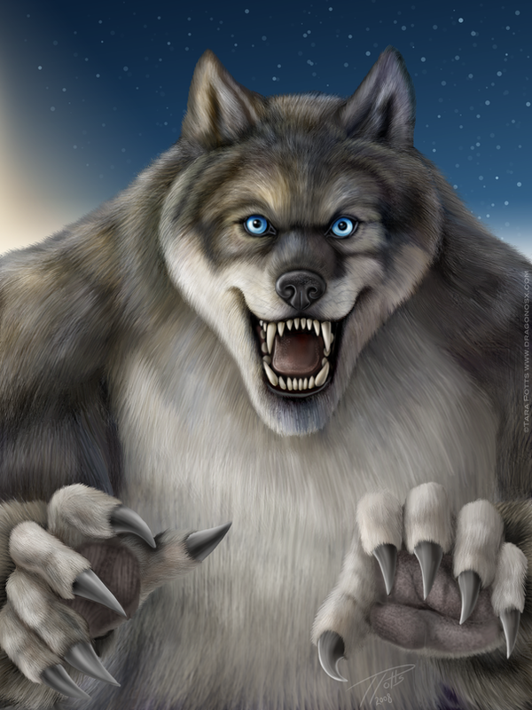 Blue Eyed Werewolf by DragonosX