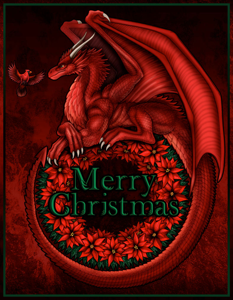 Love from the Dragon Cave .... pictures of our home ... and friends - Page 13 Christmas_dragon_2013_by_dragonosx-d6ys4rv