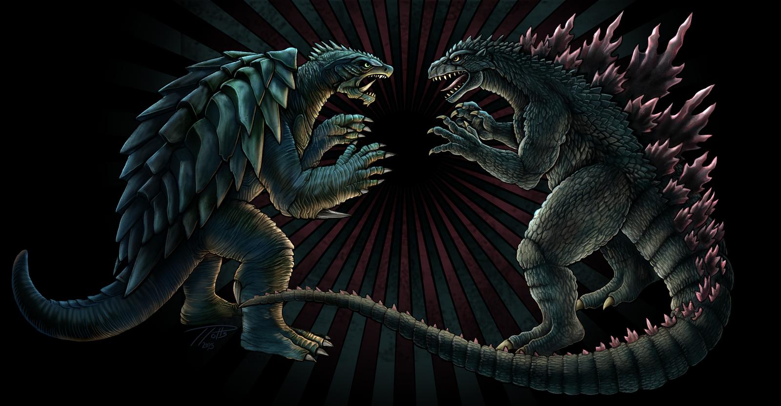 Godzilla vs Gamera by DragonosX